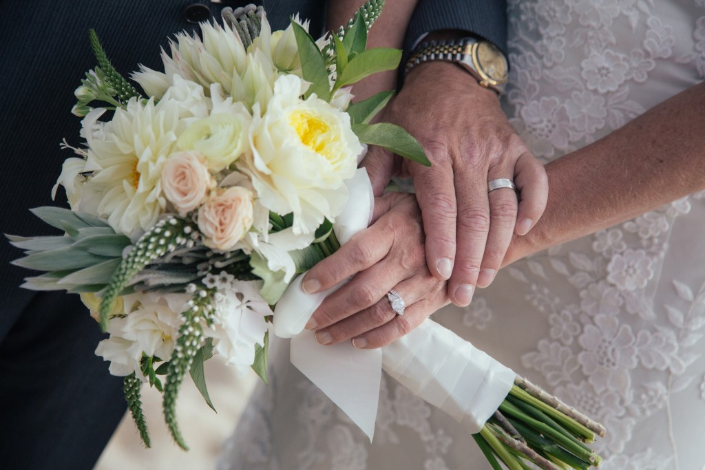 Bouquet and wedding rings of Patricia and Joe at the Ocean House, RI, USA