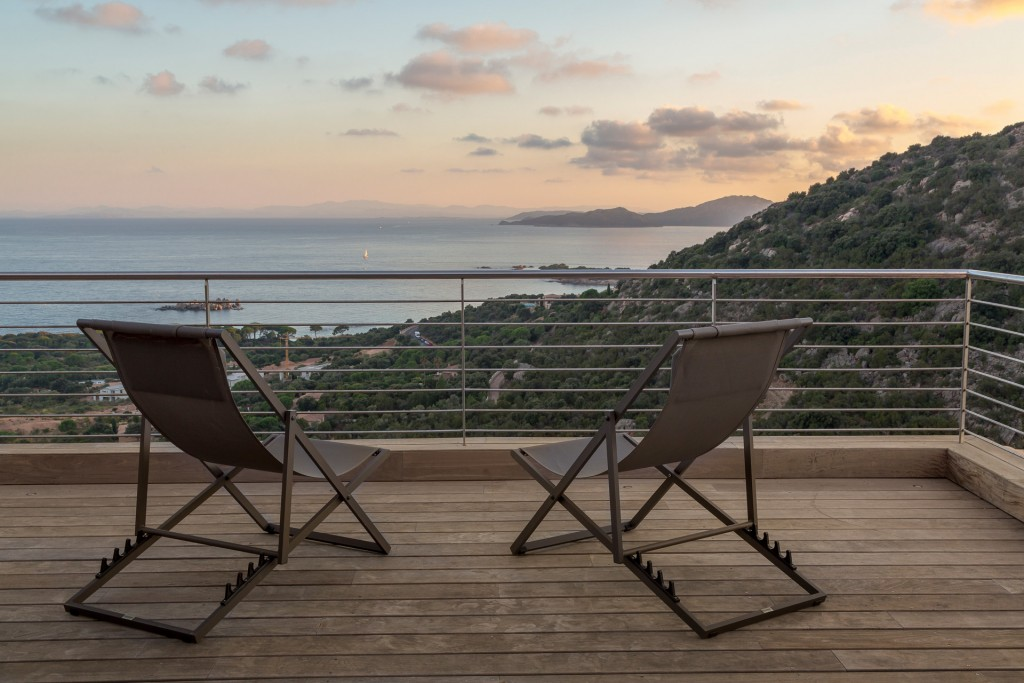 Luxury Real Estate photography in South Corsica on the terrace with view on sea and mountain
